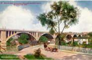 Horse-drawn carts like the one shown in this postcard view were common sights when the Grand Avenue viaduct was built in the early 1900s. Carl Swanson collection. Image courtesy of Carl Swanson.