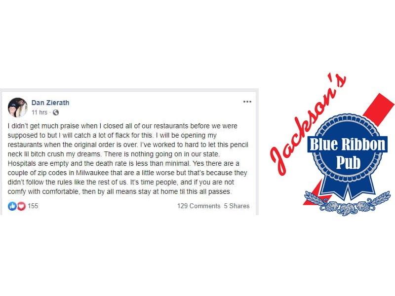 Dan Zierath Facebook post and Jackson's Blue Ribbon Pub logo