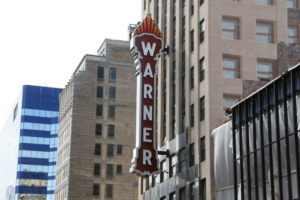 "The new ""Warner"" sign on the Bradley Symphony Center. Photo by Jeramey Jannene."