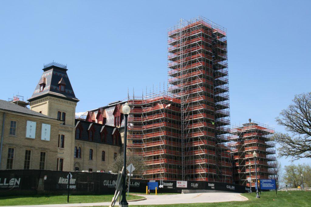 Old Main under scaffolding. Photo by Jeramey Jannene.