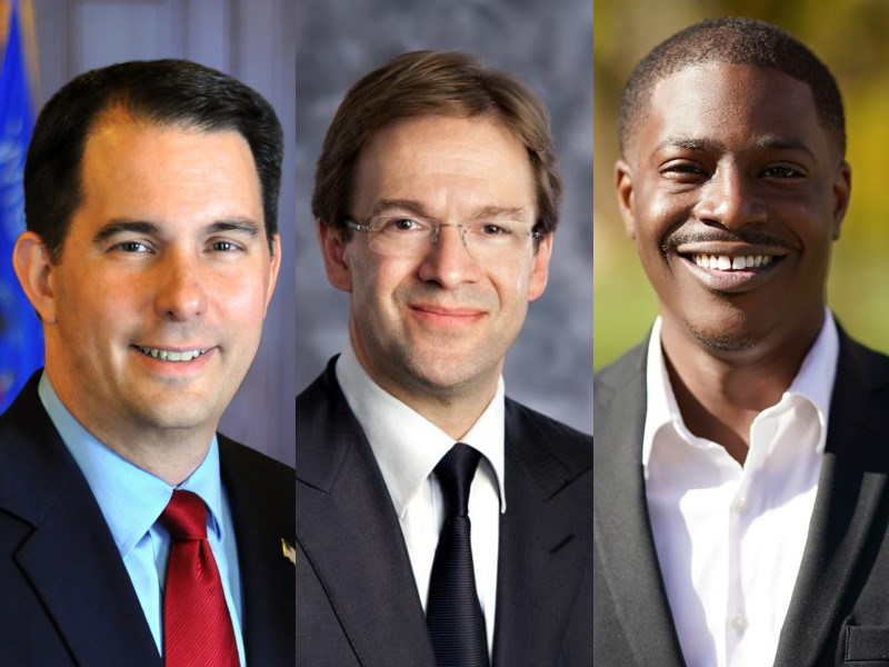 Scott Walker, Chris Abele, David Crowley.