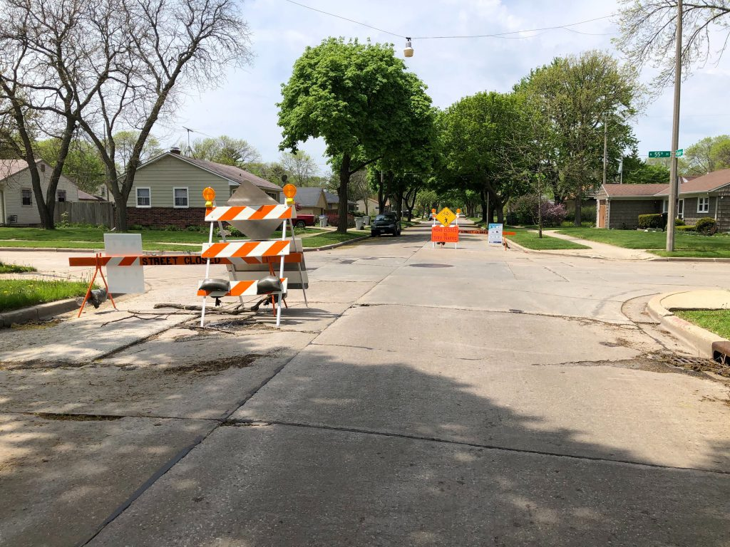 """W. Custer Ave. at N. 55th St., reconfigured to be an """"Active Street."""" Photo by Jeramey Jannene."""