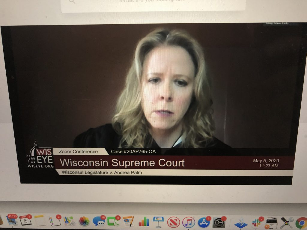 Justice Rebecca Bradley. Photo from Wisconsin Eye video of oral arguments in Wisconsin Legislature v. Andrea Palm.