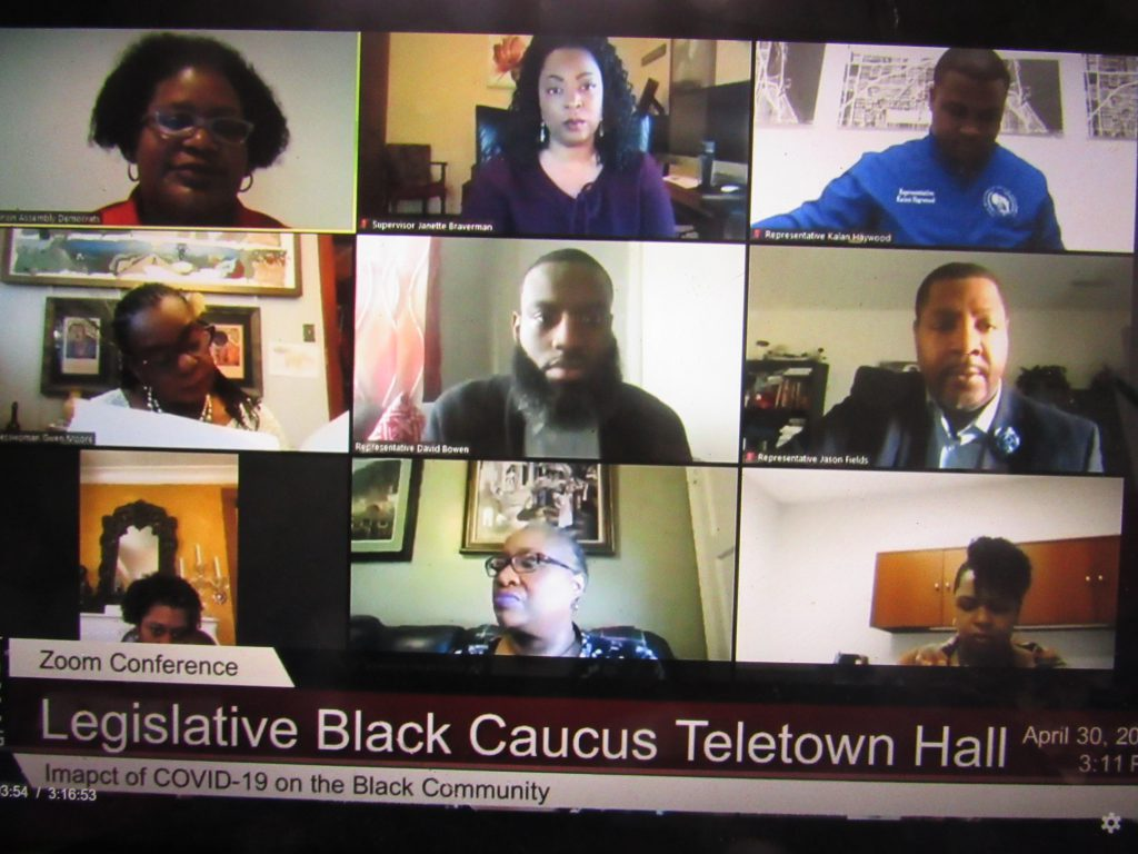 The Wisconsin Legislative Black Caucus on a Zoom call. Photo by Isiah Holmes/Wisconsin Examiner.