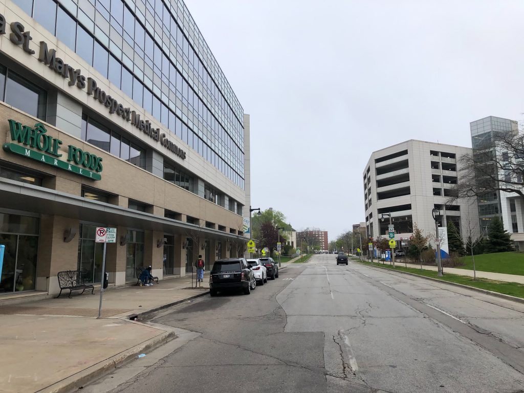 The Prospect Medical Commons and Columbia St. Mary's Hospital. Photo by Jeramey Jannene.
