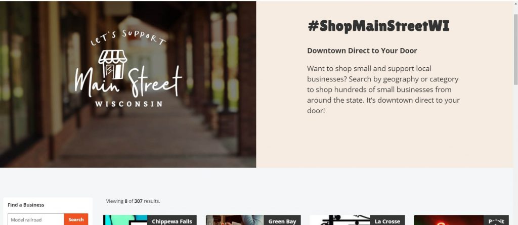 Screenshot of mainstreetwi.com, set up by the Wisconsin Economic Development Corp. to help shoppers find local businesses that sell online.