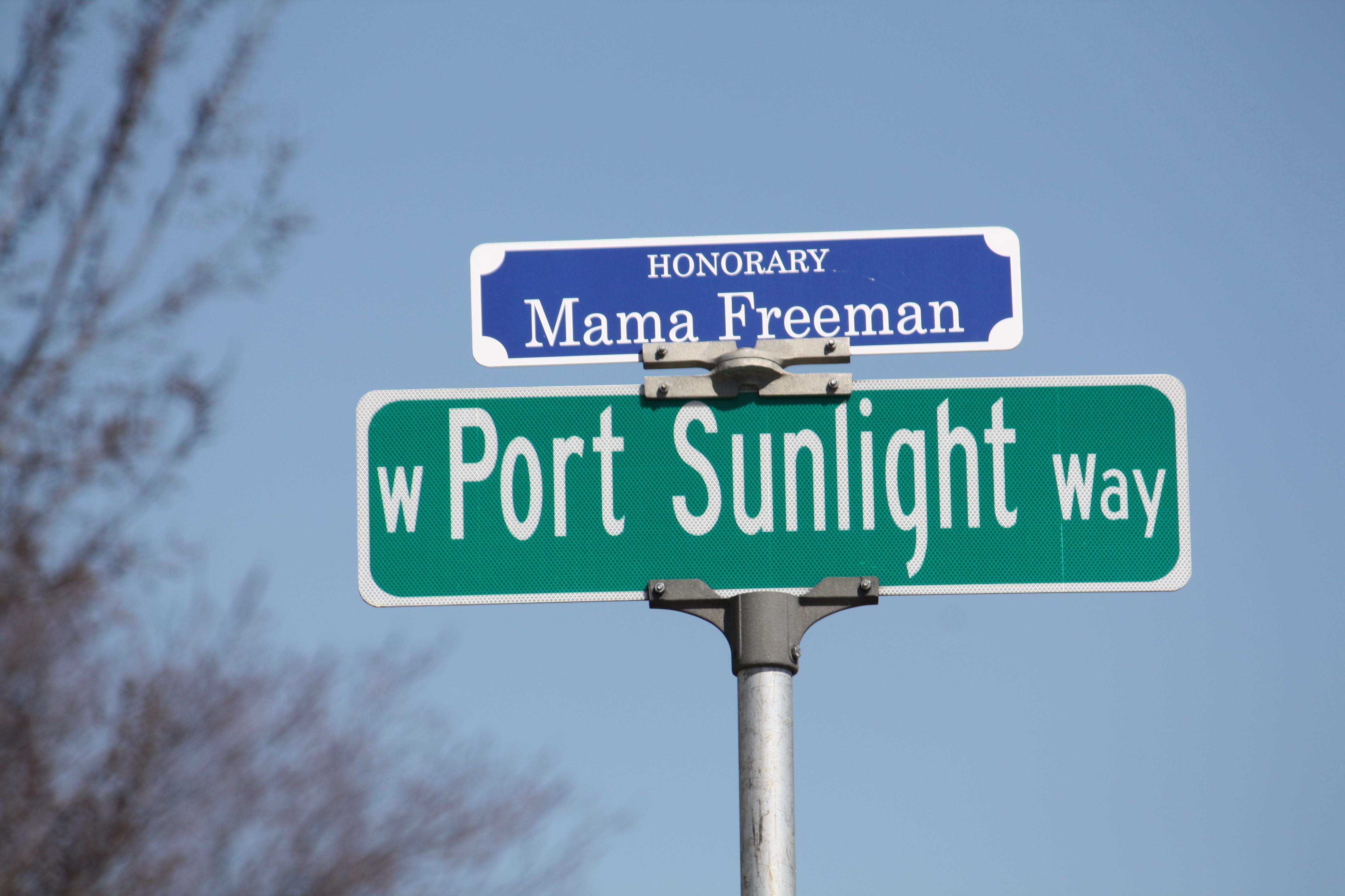 Mama Freeman honorary street sign. Photo by Carl Baehr.