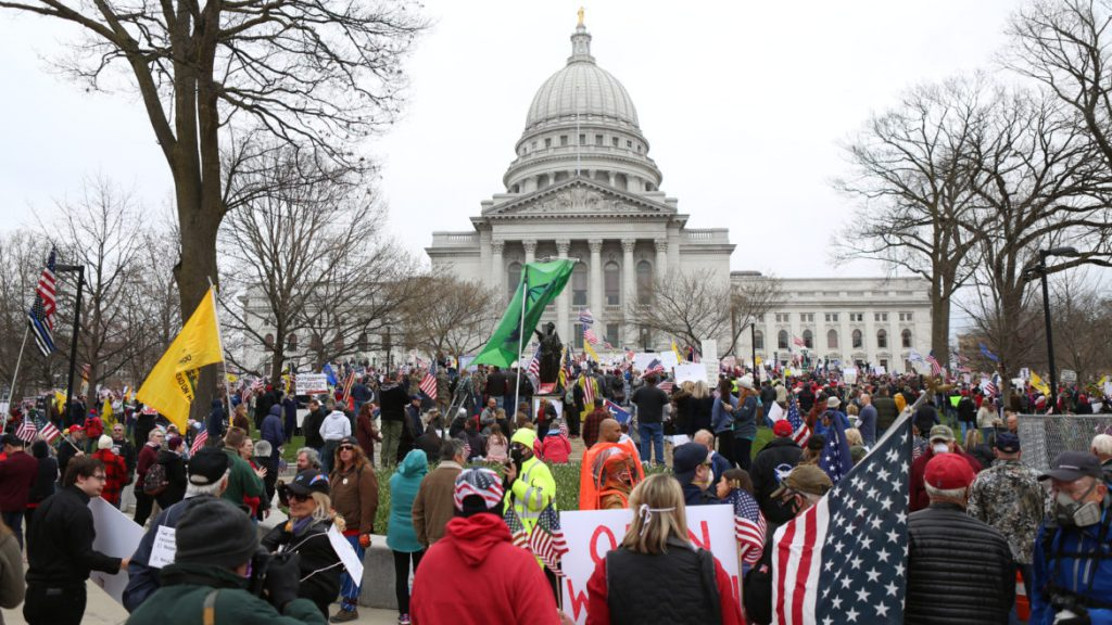 Protesters at the Wisconsin State Capitol on April 24, 2020. Photo by Brad Horn/Wisconsin Watch.