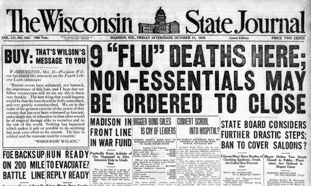 The headline of the Oct. 11, 1918 Wisconsin State Journal states that all schools, colleges, churches, theaters and other public meeting places may be ordered to close. Wisconsin State Journal archives/Wisconsin Watch.