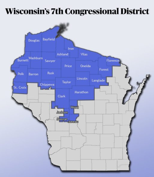Voters in Wisconsin's 7th Congressional District have a special election May 12. Officials are urging residents to vote absentee because of the pandemic. Map by Sam Buisman/Wisconsin Watch.