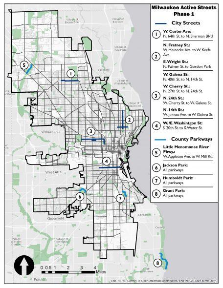Active Streets Map. Image from the City of Milwaukee.