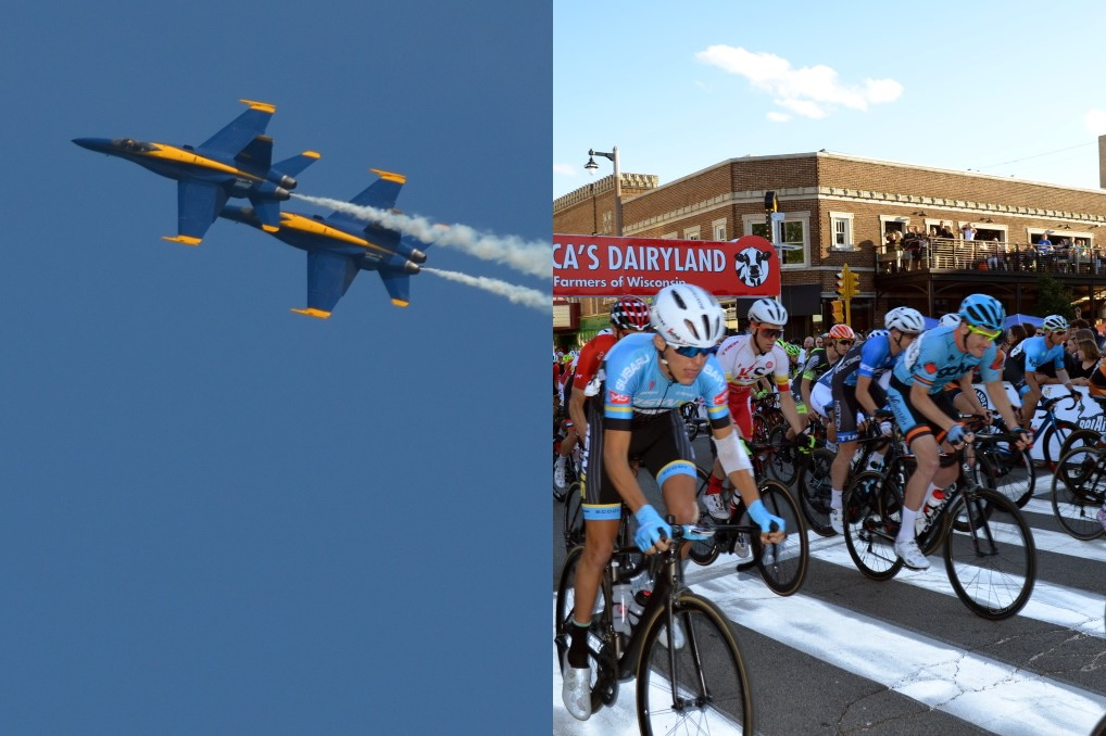 The Blue Angels and racers in the Tour of America's Dairyland. Photos by Jack Fenimore.