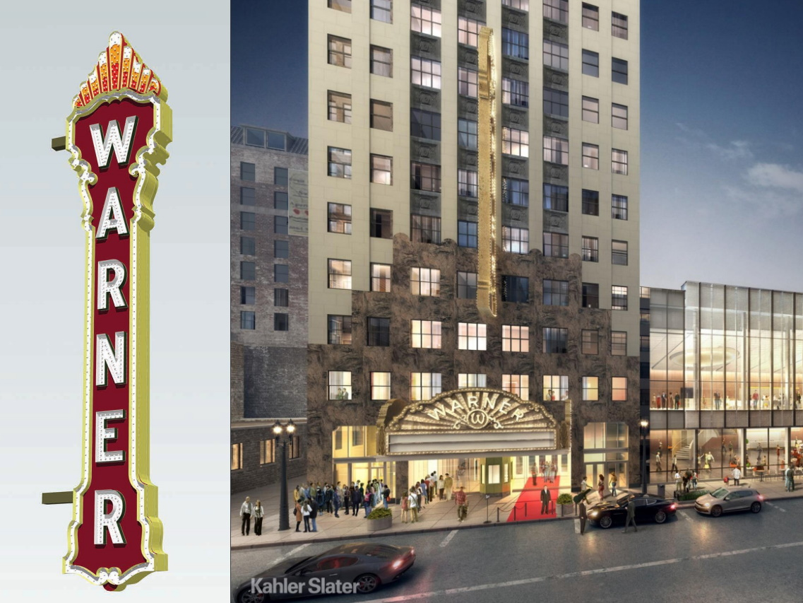 Warner marquee sign at the Bradley Symphony Center. Sign rendering by Poblocki. Building rendering by Kahler Slater.