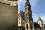 Charles H. Lass etching (photo by JP Cullen), Old Main pre-redevelopment (photo by Jeramey Jannene).