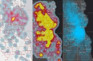 A March 2020 heat map (left), a May 2020 heat map (middle) and a May 2020 case map (right). Images from Milwaukee County COVID-19 Dashboard.