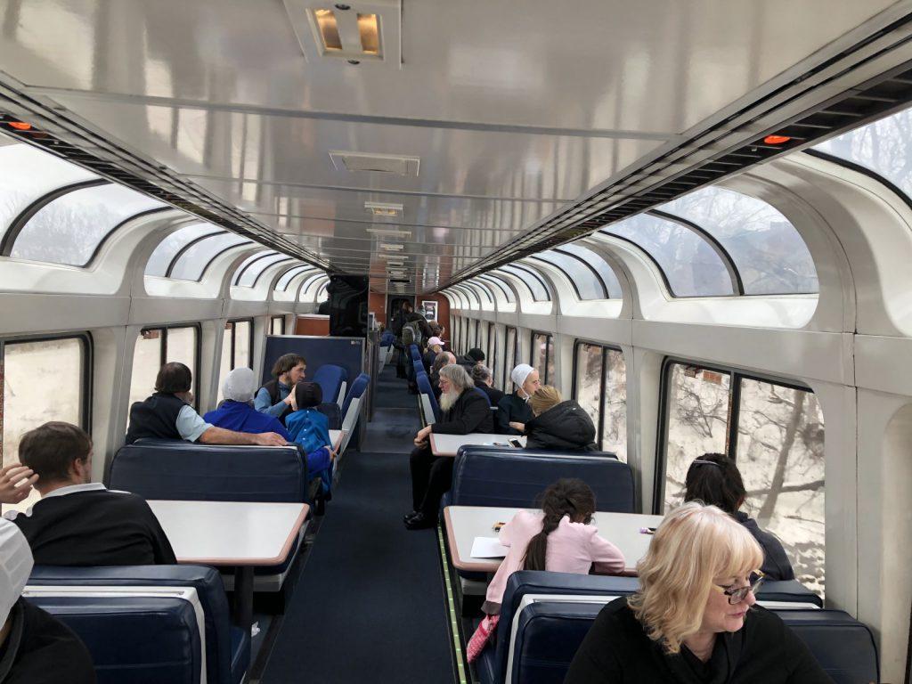 Passengers on the Amtrak Empire Builder in January 2019. Photo by Jeramey Jannene.