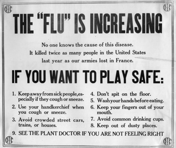 A sign displayed at an Industrial Harvester Company plant during the 1918-19 Spanish flu pandemic directs workers on how to avoid influenza infection. Wisconsin Historical Society/Wisconsin Watch.