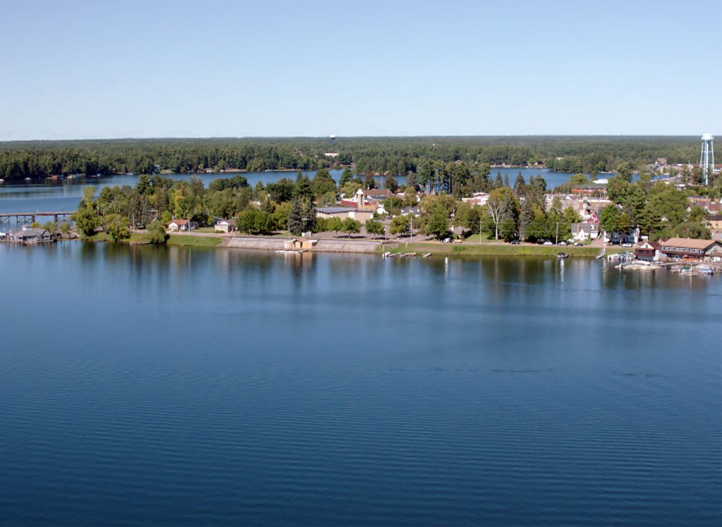 The town of Minocqua and surrounding areas are a popular seasonal destination in north-central Wisconsin, with private residences ringing many of the region's lakes. An aerial view of the community's western waterfront is featured in the 2014 PBS Wisconsin program Wisconsin From the Air. Photo from PBS Wisconsin.