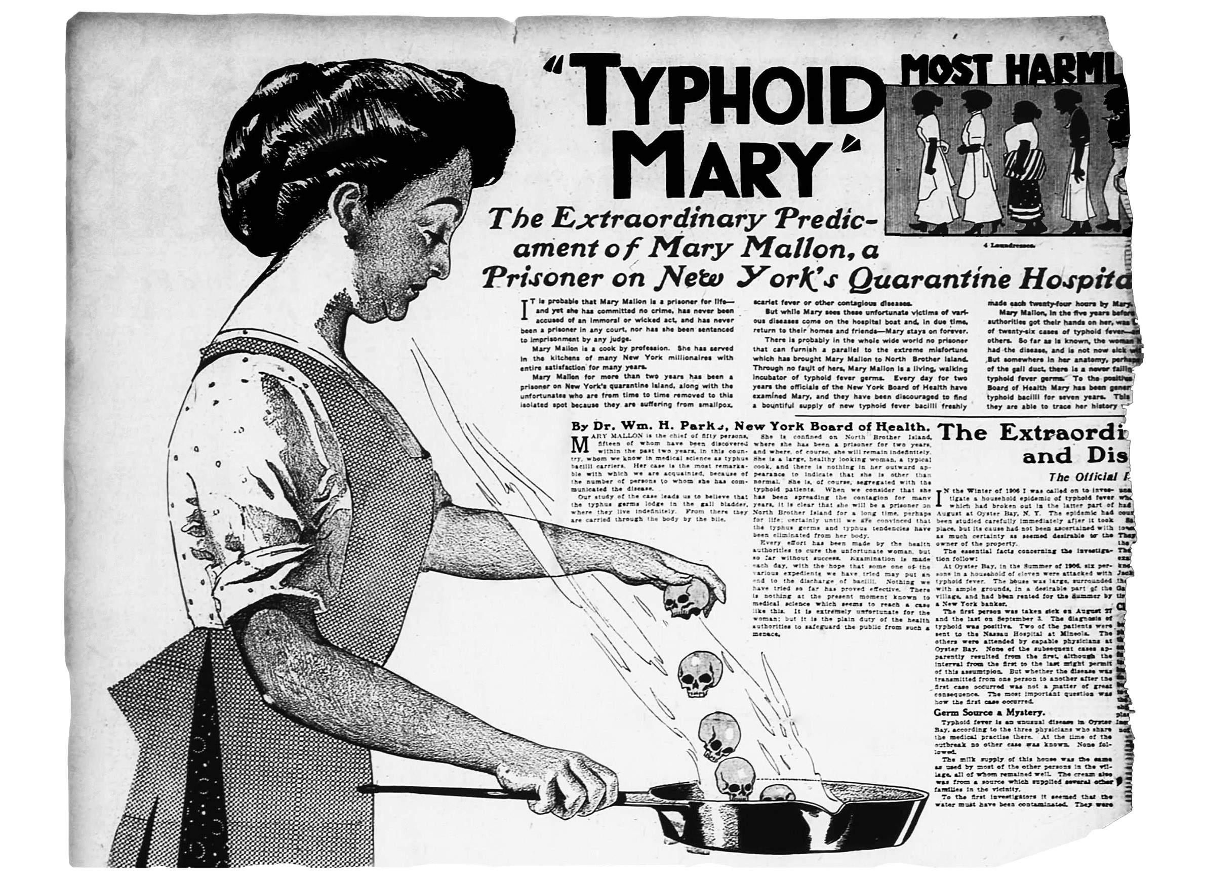 """An illustration and article published in the June 20, 1909 edition of The New York American labels Mary Mallon as """"Typhoid Mary"""" and discusses her forced quarantine. Photo from the The New York American. (Public Domain)."""