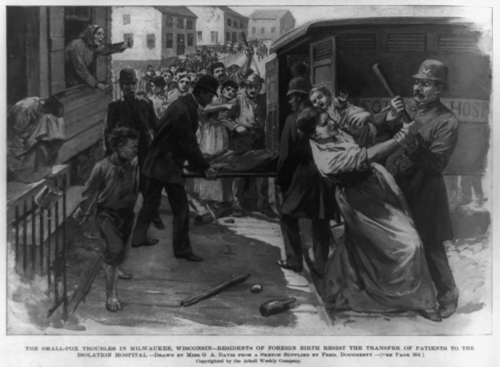 An illustration by Georgina A. Davis, based on a sketch supplied by Fred Dougherty, depicts Milwaukee residents resisting the transfer of smallpox patients to Isolation Hospital in 1894. Georgina A. Davis and Fred Dougherty/Library of Congress. (Public Domain)
