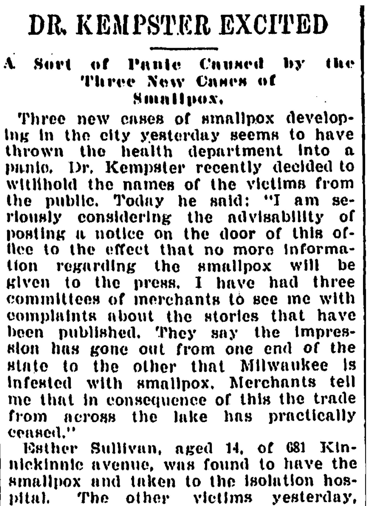 An article in the July 18, 1894 edition of the Milwaukee Journal reports on the spreading smallpox outbreak in the city. Milwaukee Journal/NewsBank. (Public Domain)