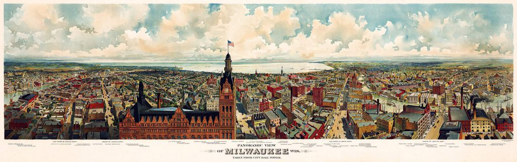 A panoramic illustration of Milwauke, created circa 1898, depicts the City Hall tower in the foreground, surrounding buildings and streets, and Lake Michigan on the horizon. The city's south side is located in the background on the right side of the illustration. The Gugler Lithographic Co./Library of Congress. (Public Domain)