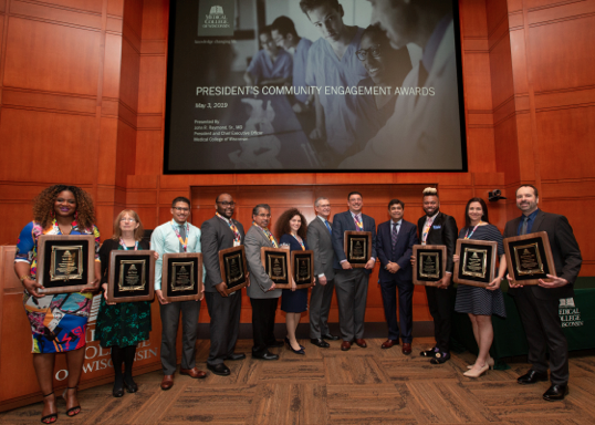 Pictured from left to right: Toni Gray; Beth Thorson, LCSW, ACSW; Christian Hernandez; Na'il Scoggins; Al Castro, MS; Megan Cory; John R. Raymond, Sr., MD; Zeno Franco, PhD; Syed Ahmed, MD, MPH, DrPH; Broderick Pearson; Tifany Frazer, MPH; Robert Gouthro, MD
