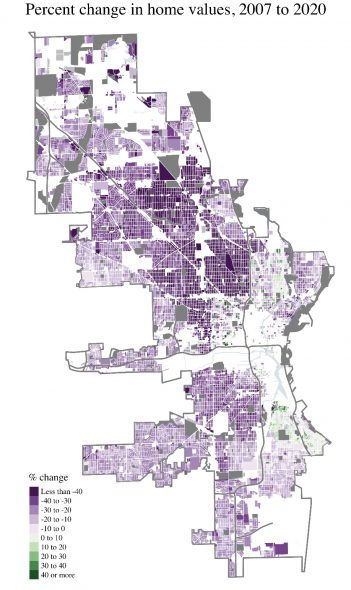 Milwaukee property value change from 2007 to 2020, adjusted for inflation. Image by John D. Johnson.