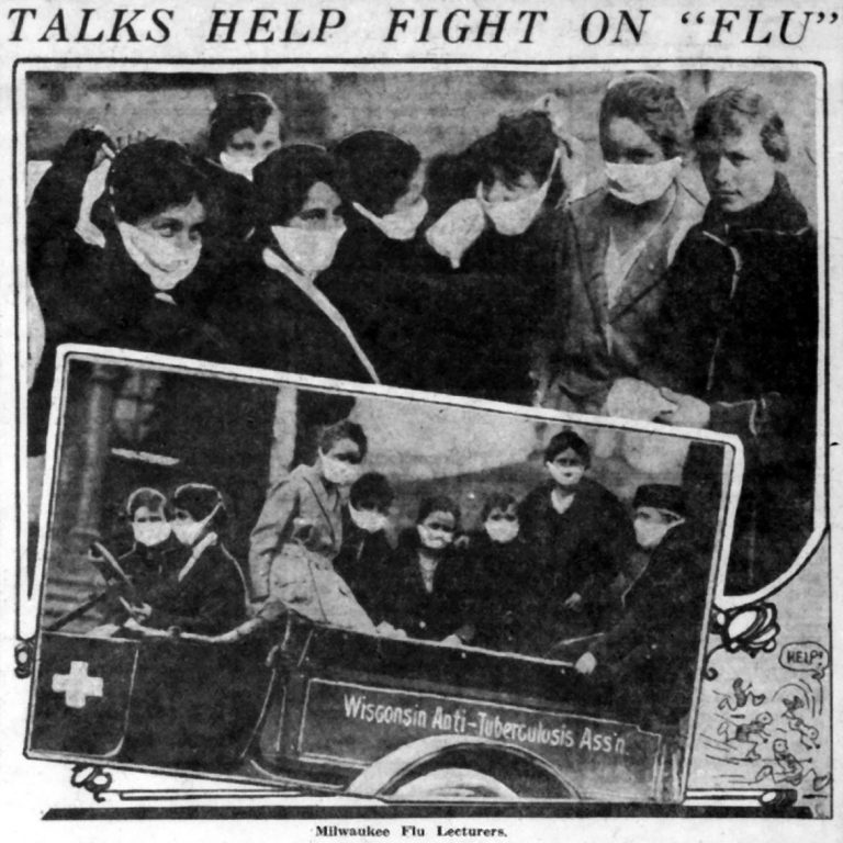 Anti-Tuberculosis Association staff members and students in the association's public health class make their rounds in Milwaukee in October 1918, demonstrating how to make flu-prevention masks. This photo ran in the Milwaukee Journal on Oct. 17, 1918. Wisconsin Historical Society Library and Archives/Wisconsin Watch.