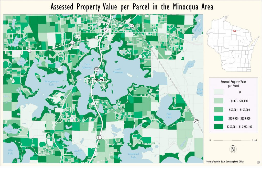 Assessed property value of parcels in the Minocqua area. The many $0 parcels are associated with government-owned properties. Map created by Ezra Zeitler/WisContext.