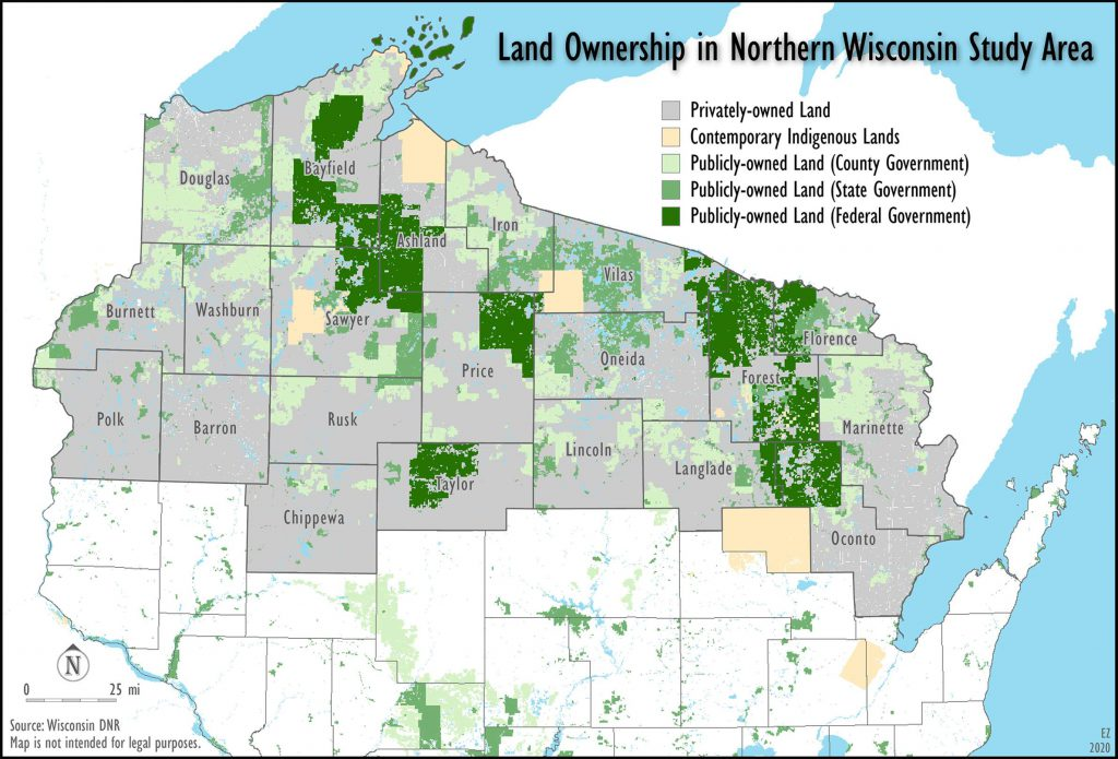 Private and public land ownership in northern Wisconsin. Multiple federal, state, and local government agencies manage 38% of land in the region. The remainder is privately owned. Map created by Ezra Zeitler/WisContext.
