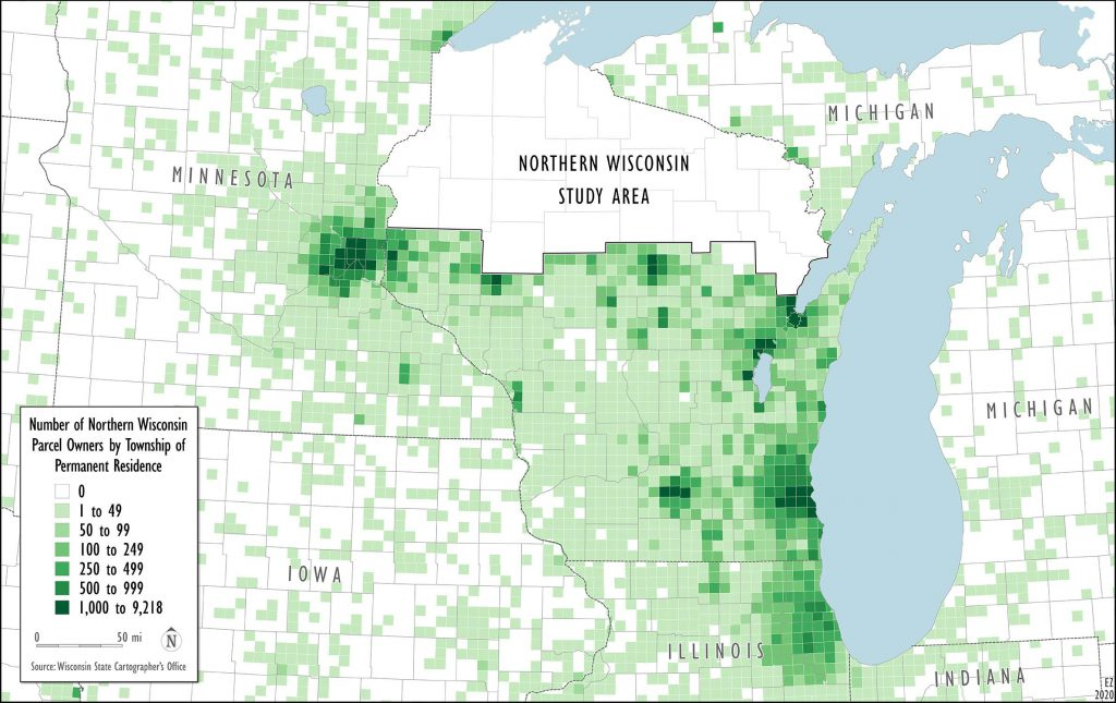 Number of northern Wisconsin parcel owners by township of permanent residence in southern Wisconsin and portions of neighboring states. Metropolitan and rural regions of the upper Midwest are home to tens of thousands of property owners in the northern third of the state. Map created by Ezra Zeitler/WisContext.