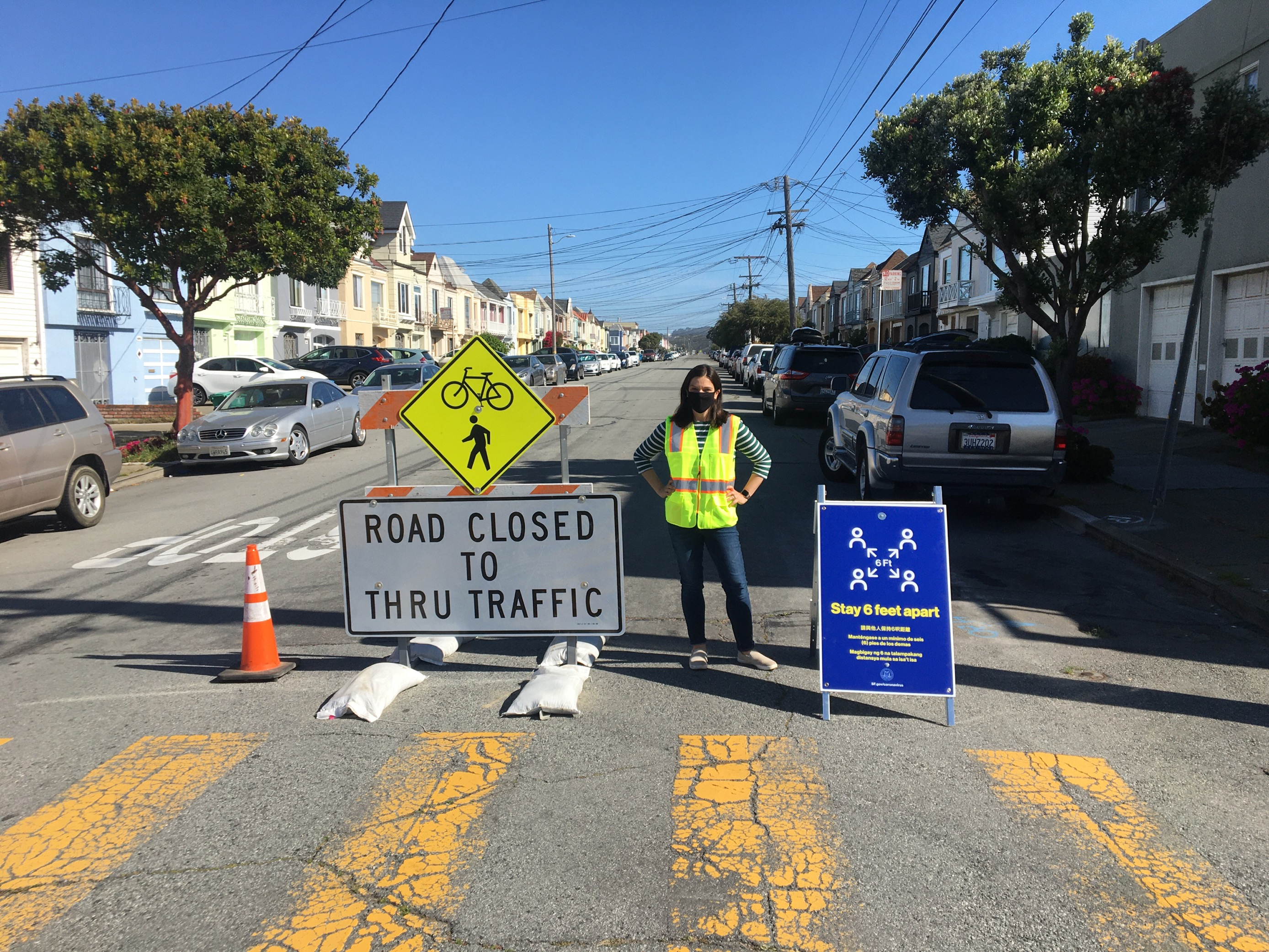 Slow streets signage in San Francisco. Photo from San Francisco Municipal Transportation Agency.