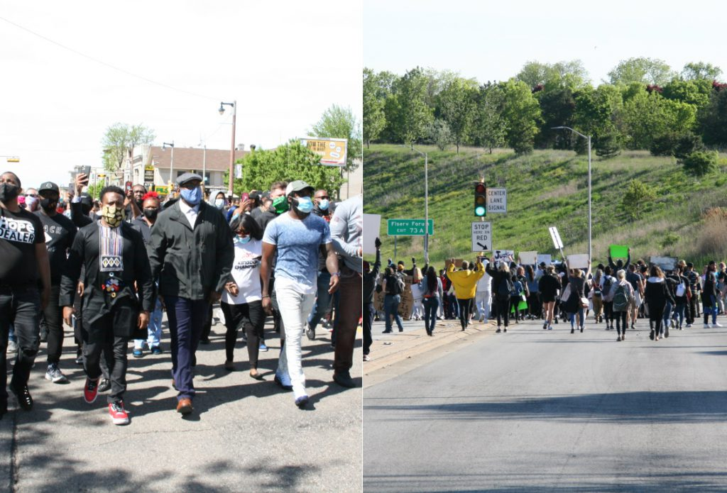 Pastors Micaiah Young, Raymond Monk and Kenneth Lock II lead a prayer march, while a second march involved protesters nearly walking on the freeway. Photos by Jeramey Jannene.
