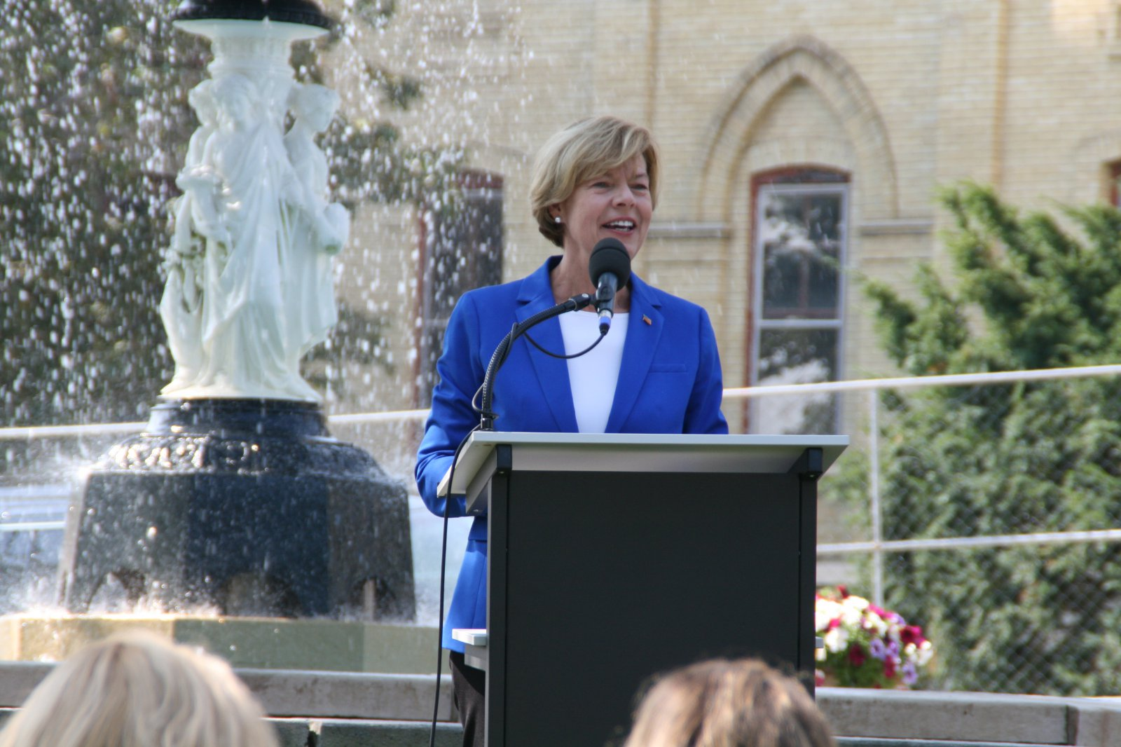 Senator Tammy Baldwin speaking at Old Main groundbreaking on September 20th, 2019. Photo by Jeramey Jannene.
