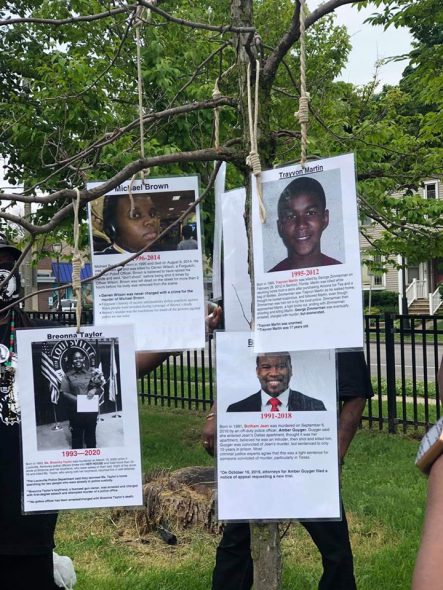 A picture of the nooses and images. Posted on Facebook by Darryl King Rick Farmer II and the Original Black Panthers of Milwaukee.