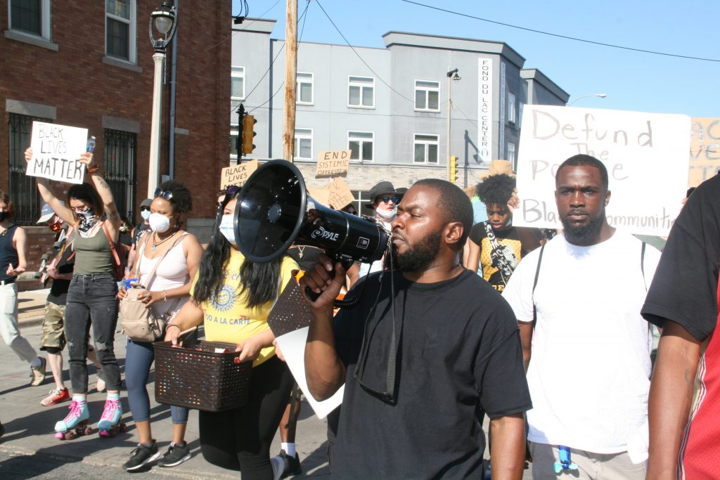 Khalil Coleman leads a protest on June 4th, 2020. Photo by Jeramey Jannene.