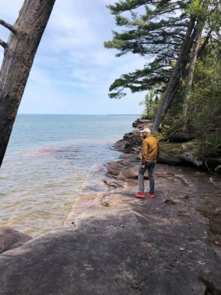 Photo from Lt. Gov. Mandela Barnes' Facebook page from June 2019 visit to Bad River, Lake Superior, the Apostle Islands, and Frog Bay Tribal National Park with the Red Cliff Band of Lake Superior Chippewa.