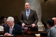 Caleb Frostman, Wisconsin Secretary of Workforce Development, is asking the U.S. Department of Labor to allow his agency to issue Pandemic Unemployment Assistance — a program created under Congress' disaster stimulus bill — to unemployed workers who also receive federal disability benefits. The push comes after the DWD began denying such claims. Frostman is seen here addressing the legislature on Dec. 4, 2018, at the Wisconsin State Capitol in Madison, Wis., while serving as a state senator. Photo by Coburn Dukehart/Wisconsin Watch.
