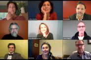 A Q&A with the audience on Zoom following the Chekhov One Acts live stream recording. Artistic director Brenda DeVita, Colleen Madden, David Daniel, Brian Mani, Tracy Michelle Arnold, James Ridge, Marcus Truschinski, Sara Day and director Aaron Posner. Photo courtesy of the American Players Theater.
