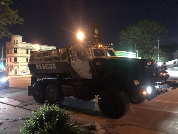 The Waukesha Police Department's MRAP was in Milwaukee during the early days of the protests. Photo by Jeramey Jannene.