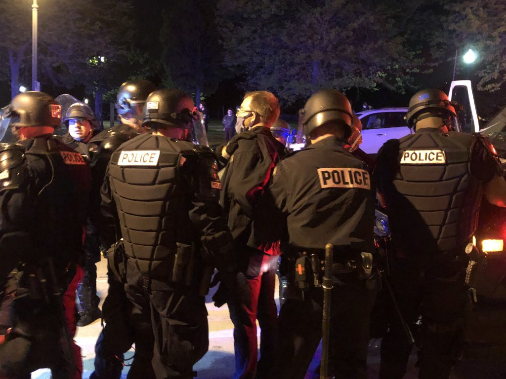 Sup. Ryan Clancy being taken into custody. Photo by Jeramey Jannene.