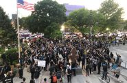 Protesters rally at Red Arrow Park on June 1st, 2020, where Dontre Hamilton was killed by a Milwaukee Police officer. Photo by Jeramey Jannene.
