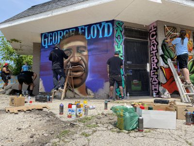 George Floyd Mural Going up at Holton and North