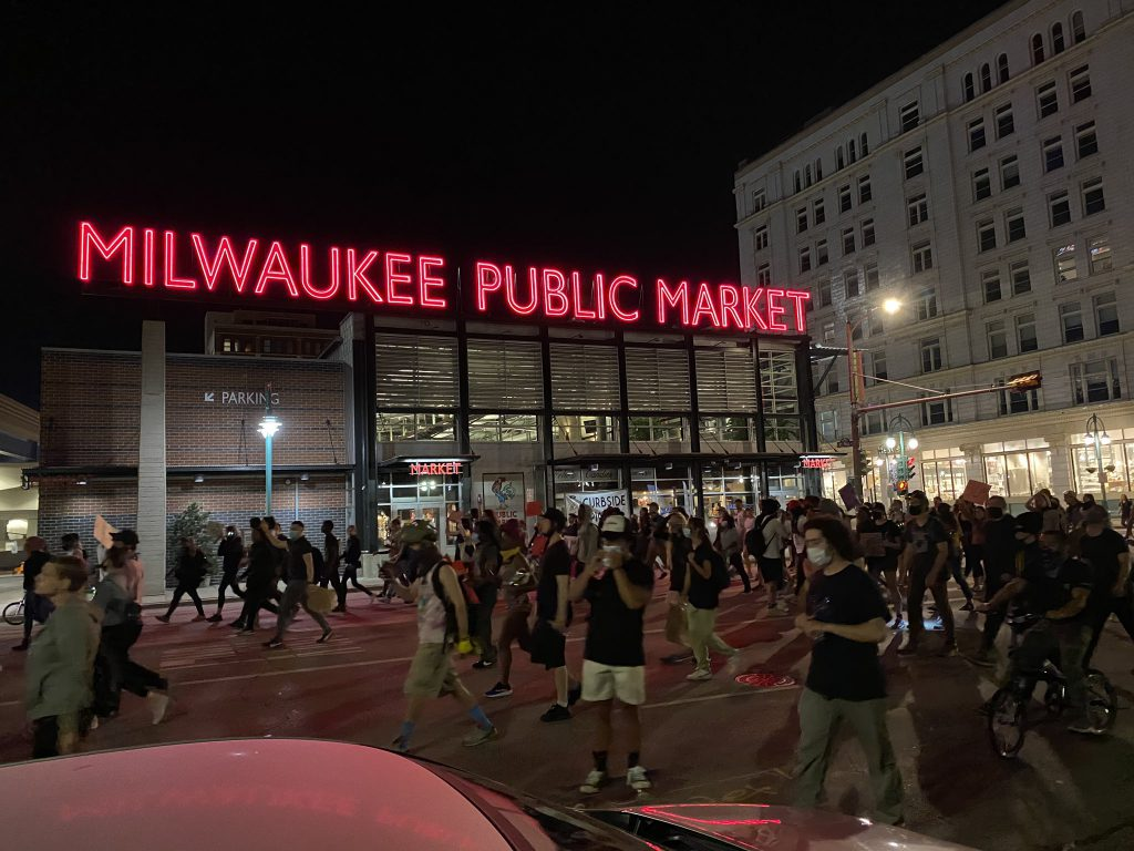 A protest march outside the Milwaukee Public Market on the morning of June 6th. Photo by Graham Kilmer.