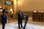 City Attorney Tearman Spencer speaks at a press conference on June 12th. Photo by Jeramey Jannene.