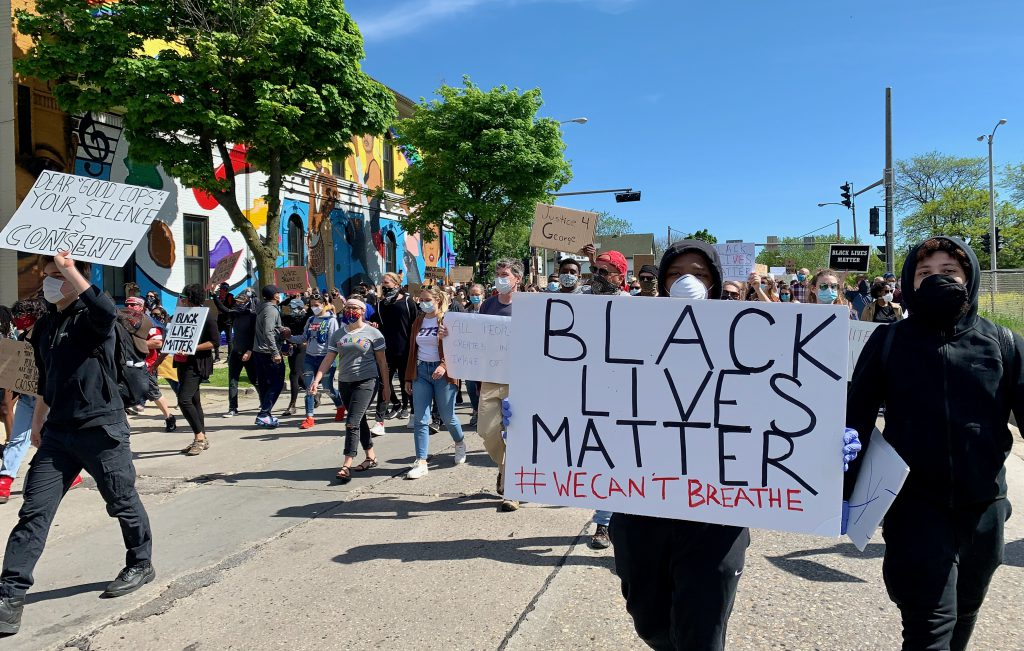 Protests and marches have taken place throughout Milwaukee in response to George Floyd's death, as well as slayings of black men by local police. Photo by Allison Dikanovic/NNS.