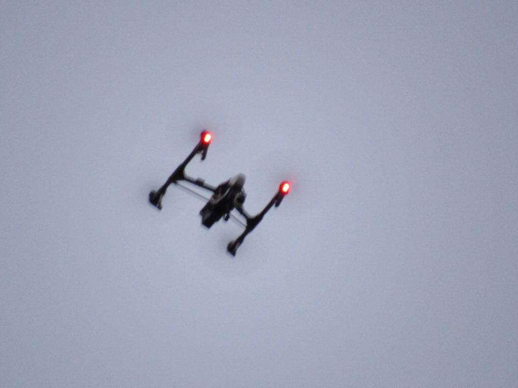 A drone hovered overhead on the first day of demonstrations. Photo by Isiah Holmes/Wisconsin Examiner.