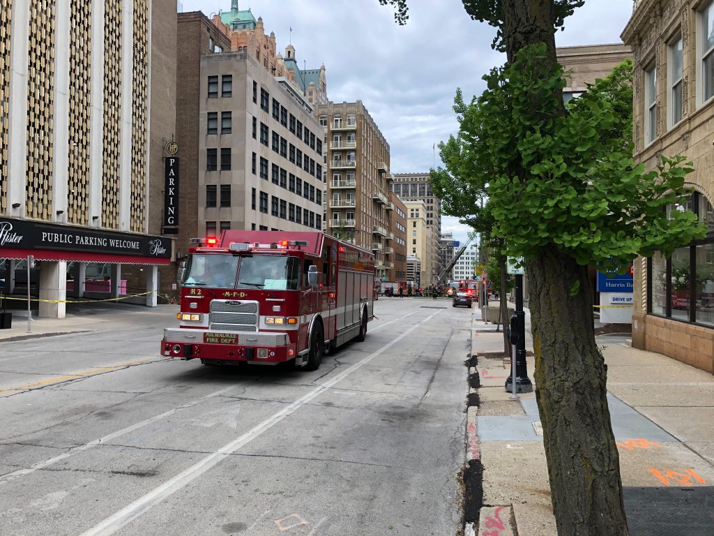 A Milwaukee Fire Department vehicle in downtown Milwaukee. Photo by Dave Reid.