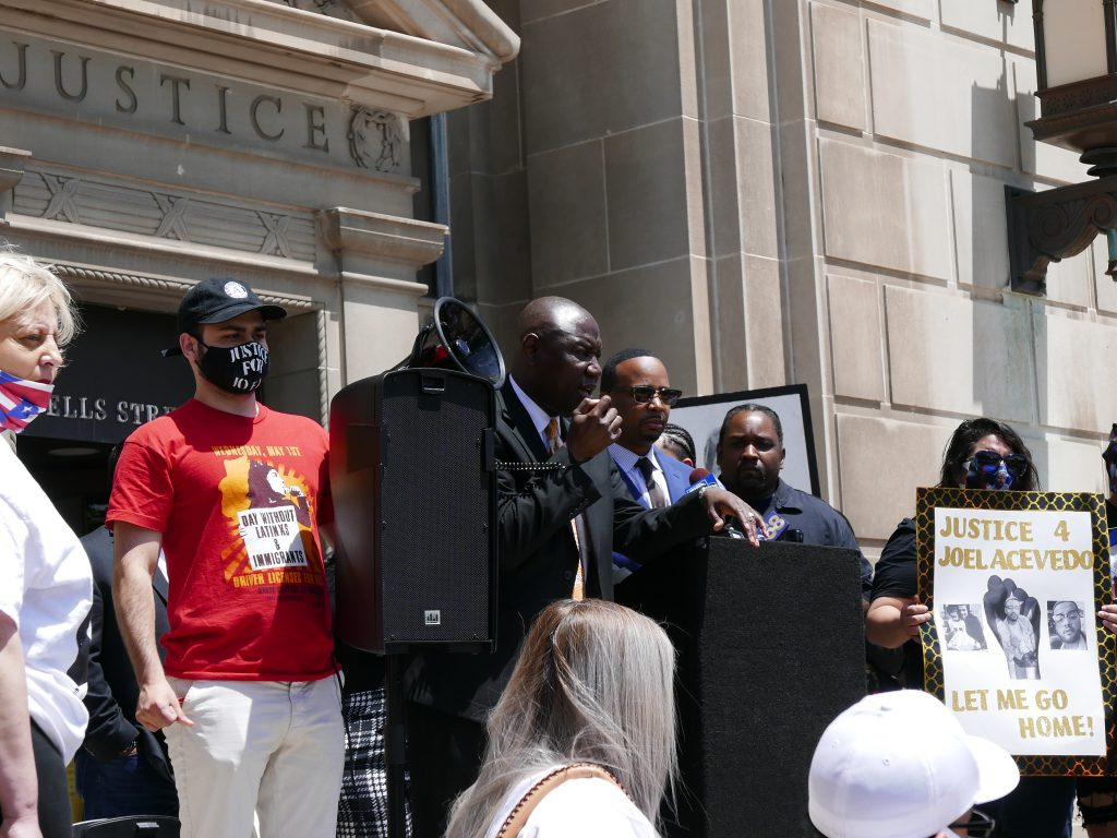 Ben Crump speaks at today's press conference. Photo by Graham Kilmer.